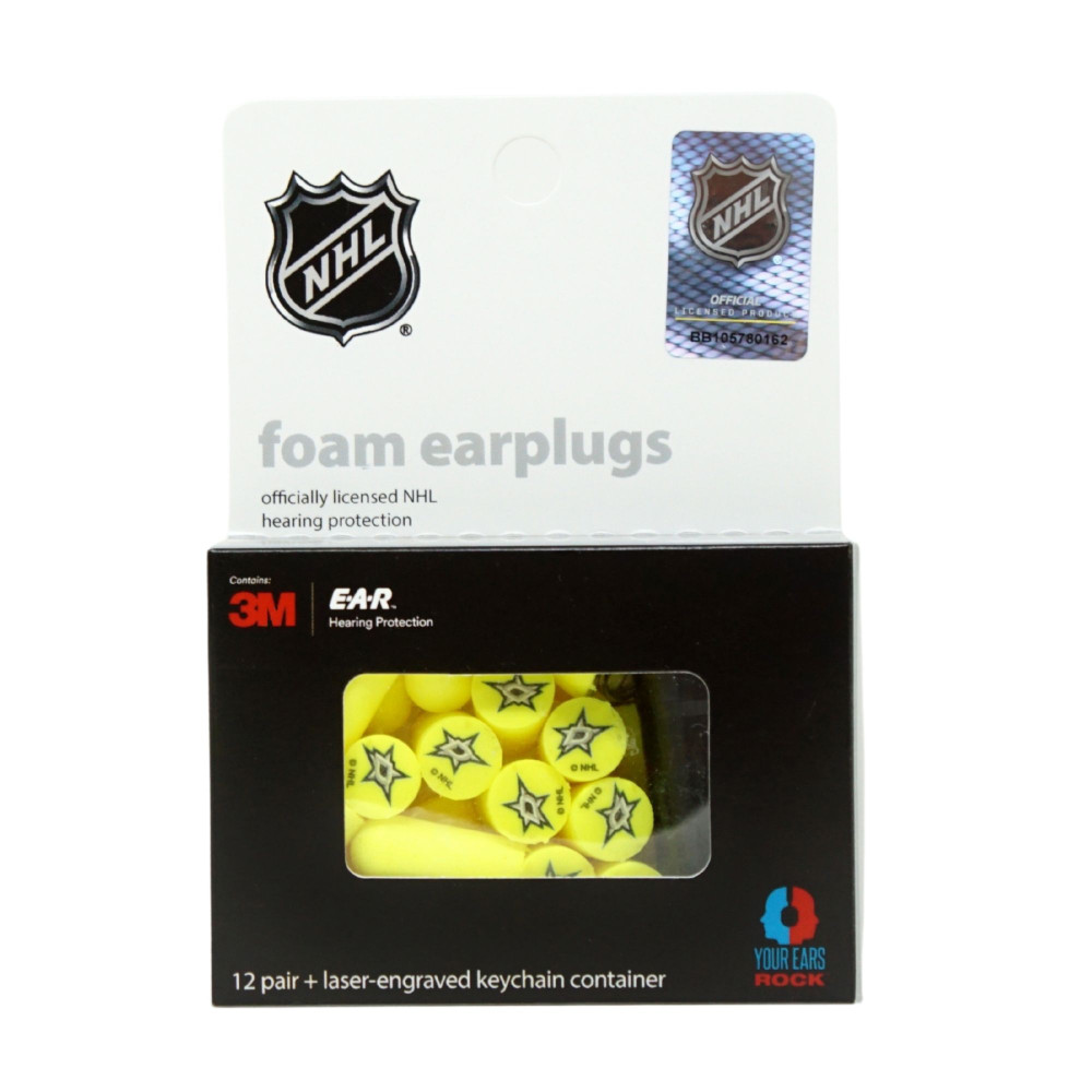 Officially Licensed Dallas Stars 12-pack Foam Earplugs with Aluminum Laser-Engraved Keychain Container  by 3M™