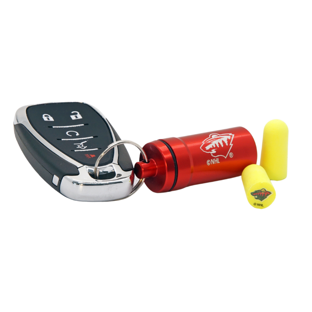 Officially Licensed Minnesota Wild 12-pack Foam Earplugs with Aluminum Laser-Engraved Keychain Container by 3M™