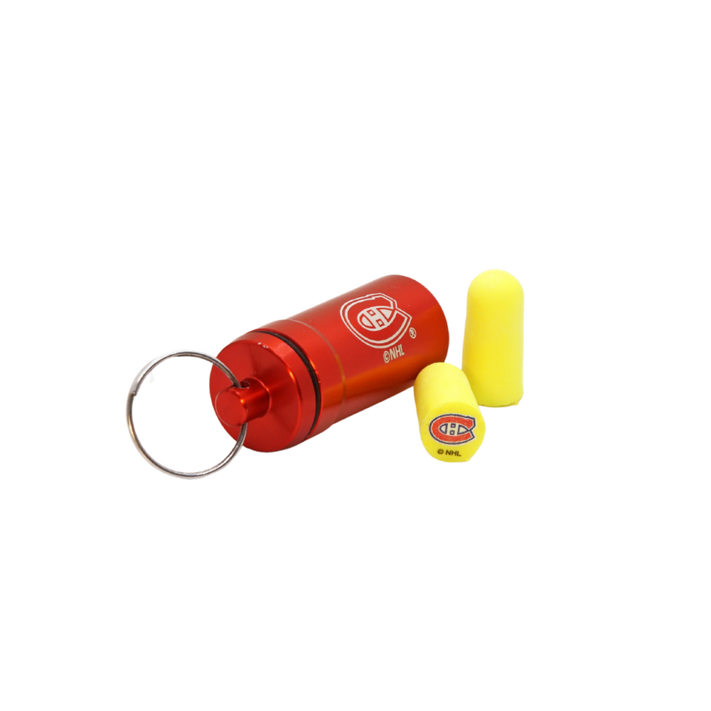 Officially Licensed Montreal Canadiens 12-pack Foam Earplugs with Aluminum Laser-Engraved Keychain Container by 3M™