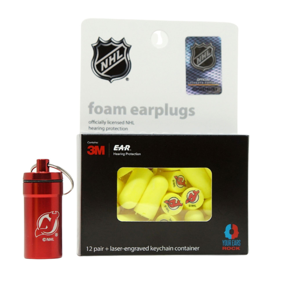 Officially Licensed New Jersey Devils 12-pack Foam Earplugs with Aluminum Laser-Engraved Keychain Container by 3M™