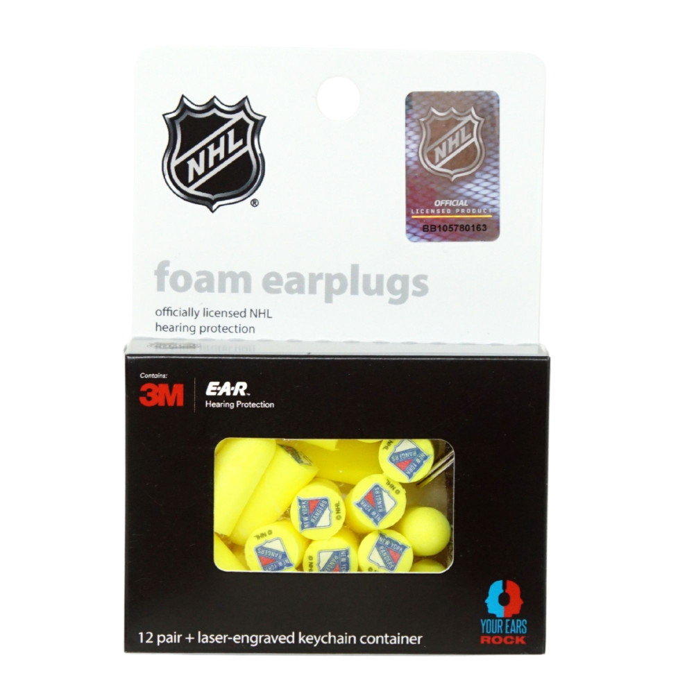 Officially Licensed New York Rangers 12-pack Foam Earplugs with Aluminum Laser-Engraved Keychain Container by 3M™