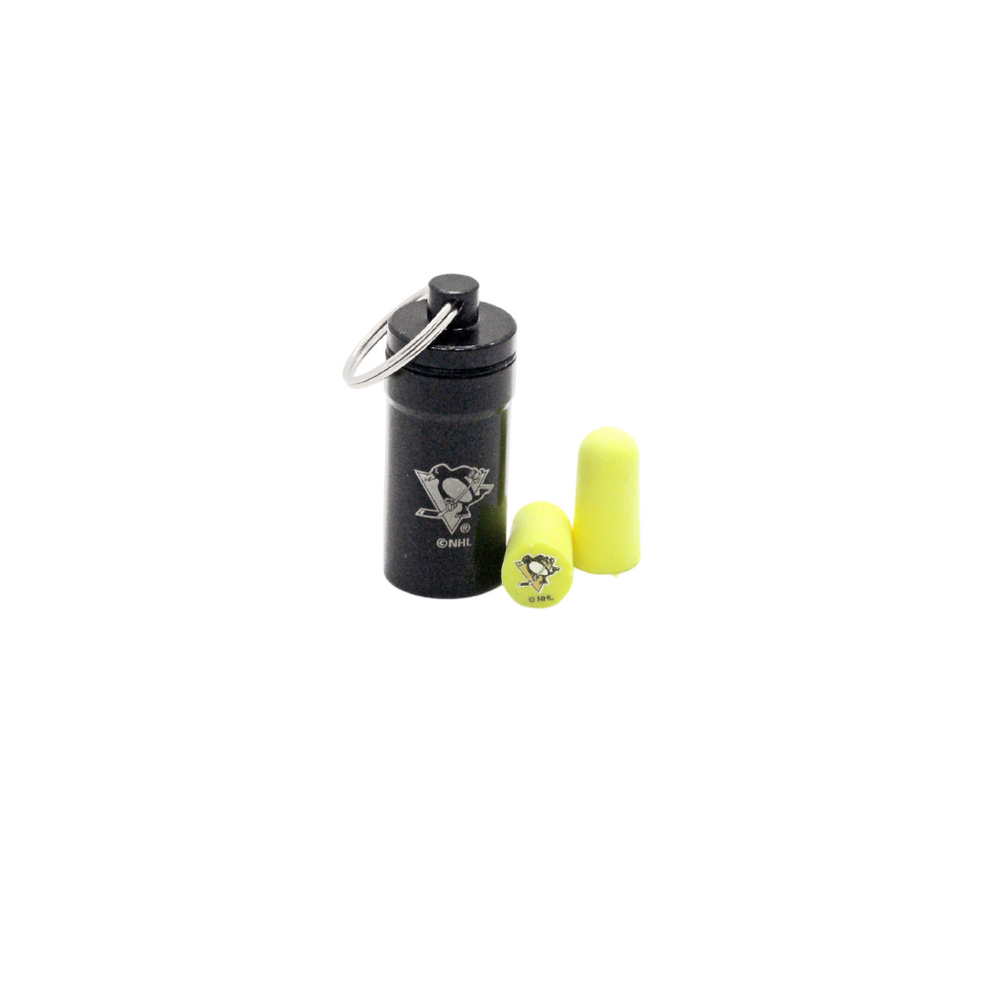 Officially Licensed Pittsburgh Penguins 12-pack Foam Earplugs with Aluminum Laser-Engraved Keychain Container by 3M™