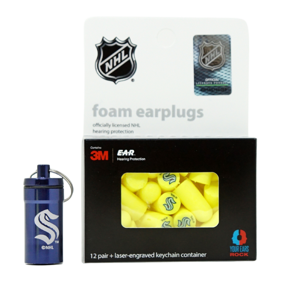 Officially Licensed Seattle Kraken 12-pack Foam Earplugs with Aluminum Laser-Engraved Keychain Container by 3M™