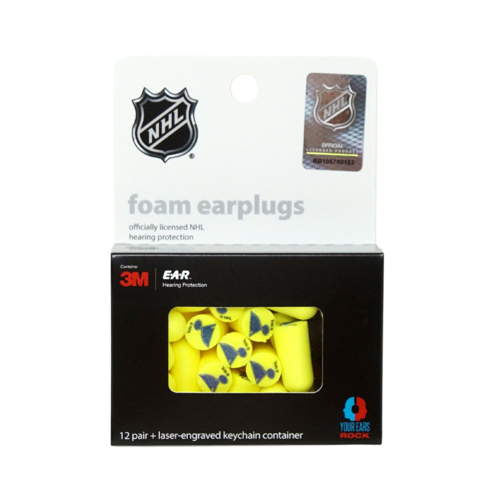 Officially Licensed St. Louis Blues 12-pack Foam Earplugs with Aluminum Laser-Engraved Keychain Container by 3M™