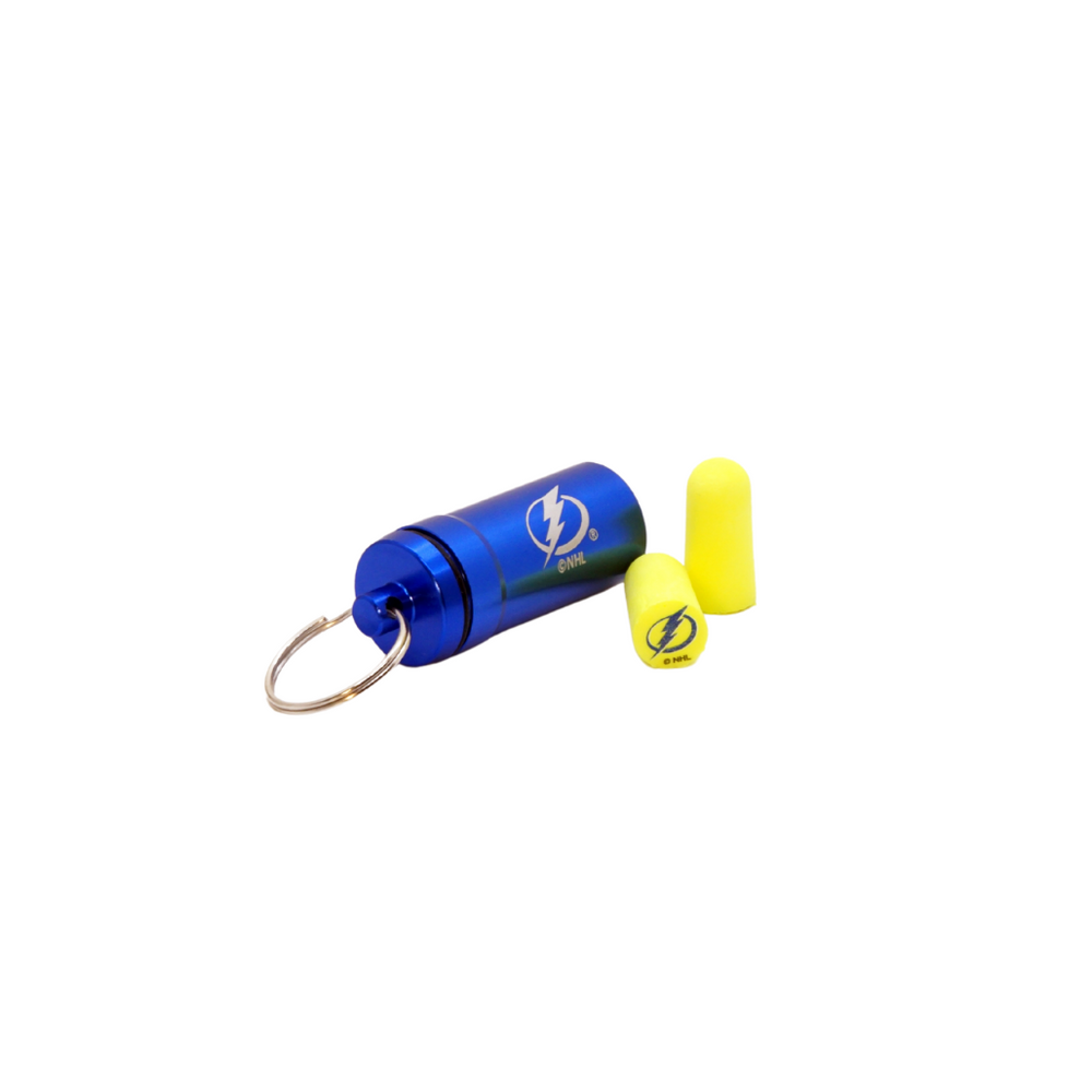 Officially Licensed Tampa Bay Lightning 12-pack Foam Earplugs with Aluminum Laser-Engraved Keychain Container by 3M™