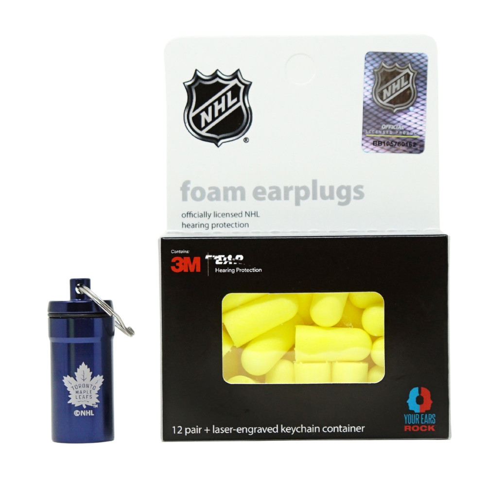 Officially Licensed Toronto Maple Leafs 12-pack Foam Earplugs with Aluminum Laser-Engraved Keychain Container by 3M™