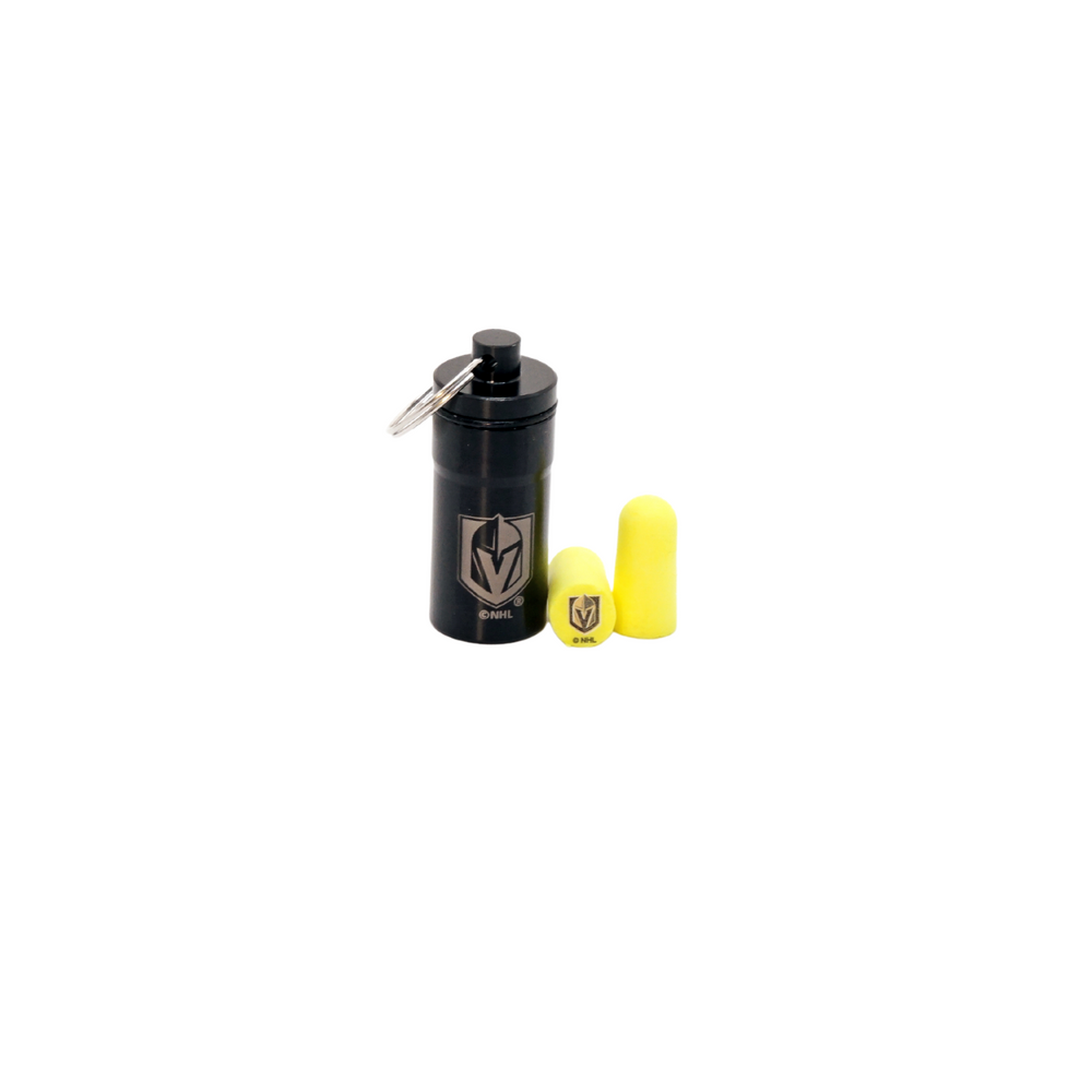Officially Licensed Vegas Golden Knights 12-pack Foam Earplugs with Aluminum Laser-Engraved Keychain Container by 3M™