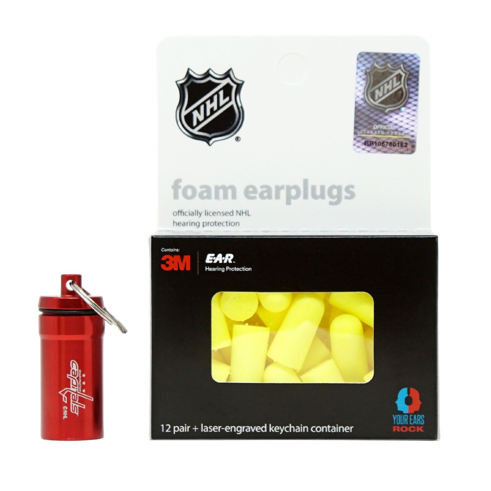 Officially Licensed Washington Capitals 12-pack Foam Earplugs with Aluminum Laser-Engraved Keychain Container by 3M™