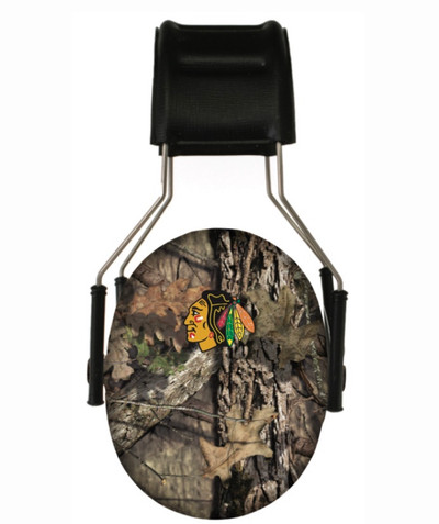 Officially Licensed Chicago Blackhawks Mossy Oak Break-up Country Camouflage Hearing Protection Earmuffs