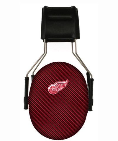 Officially Licensed Detroit Red Wings Carbon Fiber 3M Hearing Protection Earmuffs