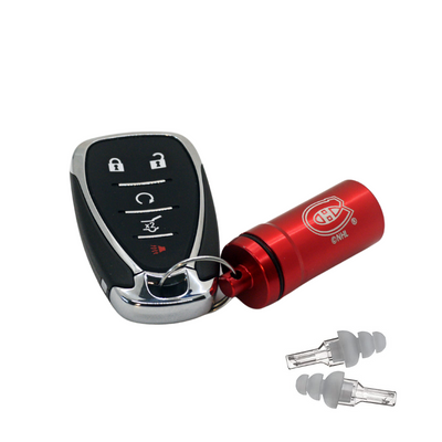Officially Licensed Montreal Canadiens Aluminum Laser-Engraved Keychain Container with Hi-Fidelity Earplugs by 3M™