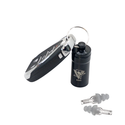 Officially Licensed Pittsburgh Penguins Aluminum Laser-Engraved Keychain Container with Hi-Fidelity Earplugs by 3M™
