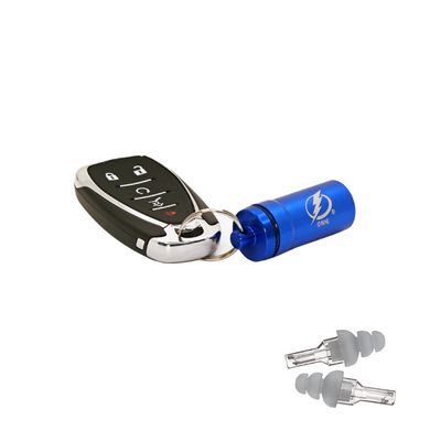 Officially Licensed Tampa Bay Lightning Aluminum Laser-Engraved Keychain Container with Hi-Fidelity Earplugs by 3M™