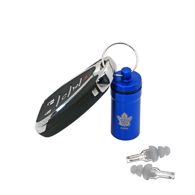Officially Licensed Toronto Maple Leafs Aluminum Laser-Engraved Keychain Container with Hi-Fidelity Earplugs by 3M™