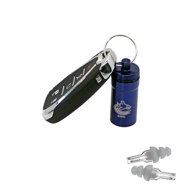 Officially Licensed Vancouver Canucks Aluminum Laser-Engraved Keychain Container with Hi-Fidelity Earplugs by 3M™