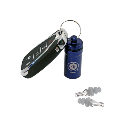 Officially Licensed Winnipeg Jets Aluminum Laser-Engraved Keychain Container with Hi-Fidelity Earplugs by 3M™
