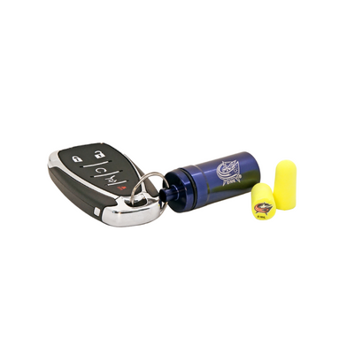 Officially Licensed 12-pack Columbus Blue Jackets Foam Earplugs with Aluminum Laser-Engraved Keychain Container by 3M™