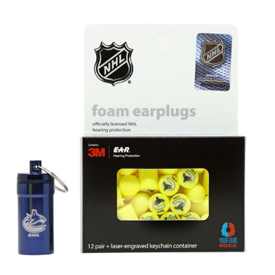 Officially Licensed Vancouver Canucks 12-pack Foam Earplugs with Aluminum Laser-Engraved Keychain Container by 3M™