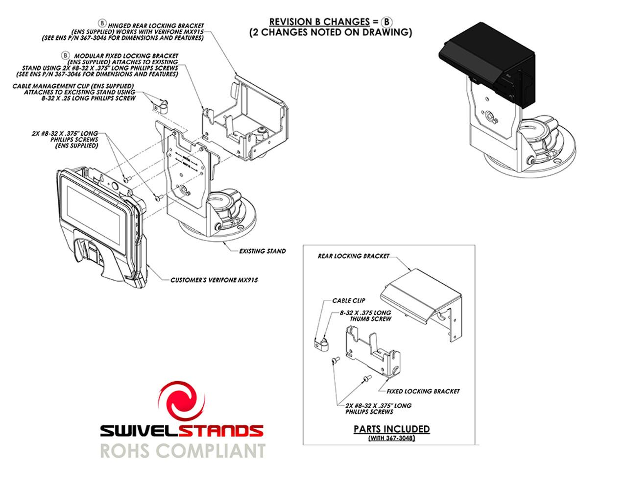 Verifone MX915 Rear Locking Add On Bracket by Swivel Stands