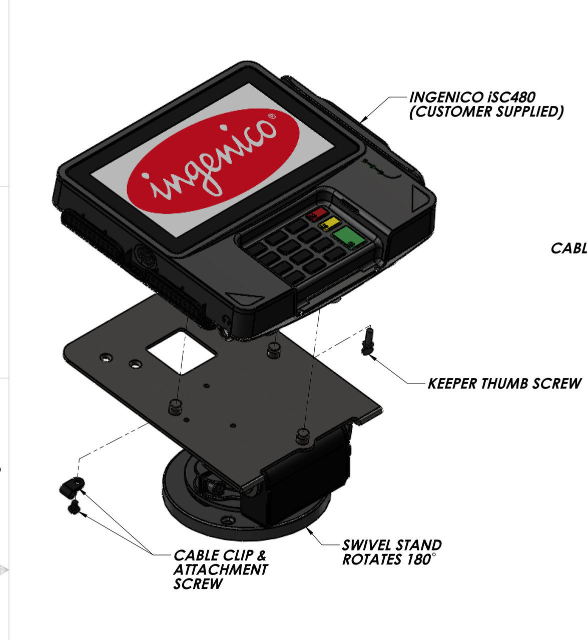 Ingenico iSC480 Credit Card Stand Low Profile by Swivel Stands