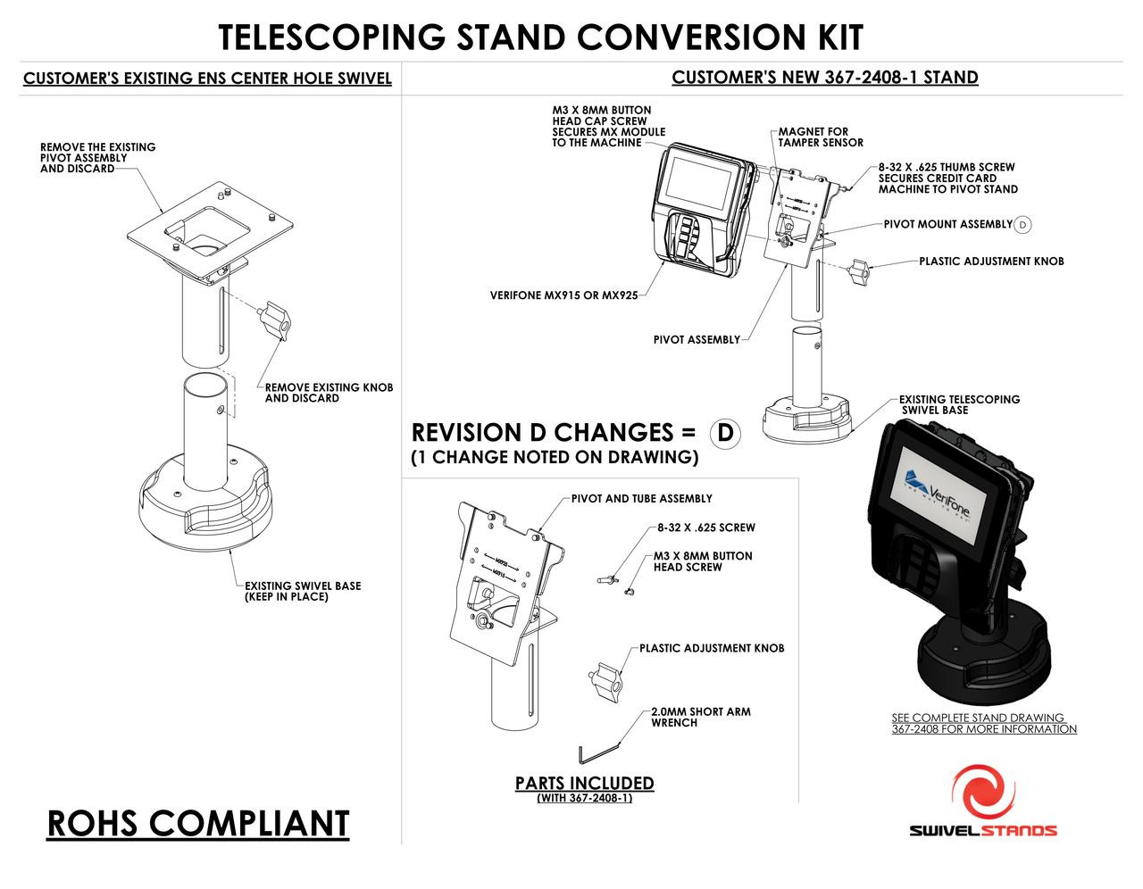Verifone MX915 MX925 Conversion Kit Telescoping to MX915 MX925 by Swivel Stands