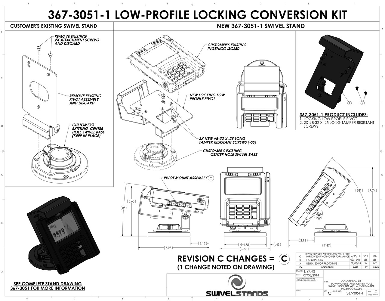 Swivel Stands Conversion Kit, Locking, Low Profile Ingenico iSC250