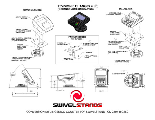 Ingenico iSC250 Low Profile CONVERSION KIT by Swivel Stands