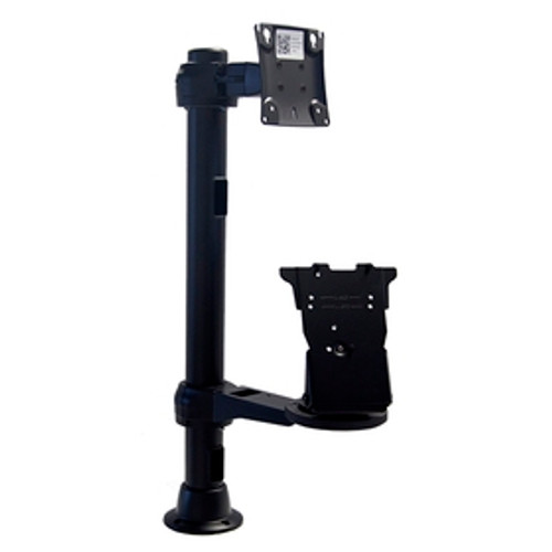 Grommet Mount Base, 24 inch Pole, Fixed Height Monitor Arm on Rotating Clamp, with Verifone MX915-925