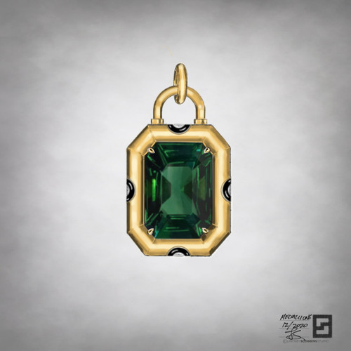 green tourmaline deco padlock medallion in 18 karat gold with black enamel