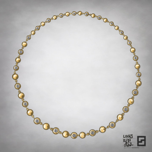 graduating diamond bead chain necklace in 18k gold and alternating diamonds