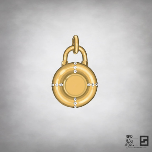 life preserver inspired padlock medallion with diamonds in 18 karat gold