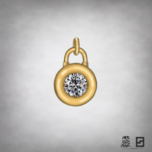 diamond solitaire padlock pendant in 18k gold