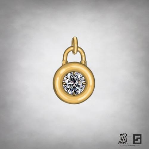 diamond solitaire padlock pendant in 18k gold