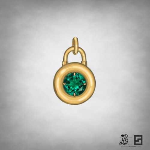 round emerald solitaire padlock pendant in 18k gold