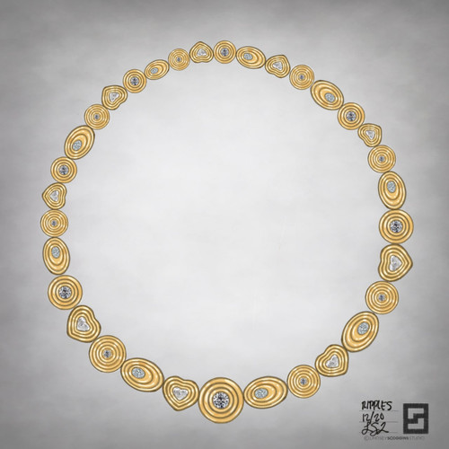 ripple effect collar necklace in 18k gold with round, oval and heart shaped diamonds