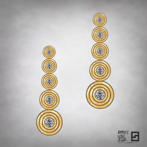 ripple effect diamond drop earrings in 18 karat gold