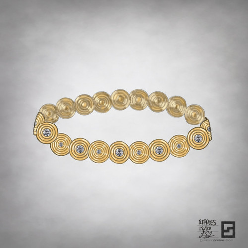 ripple effect diamond link bracelet in 18 karat gold