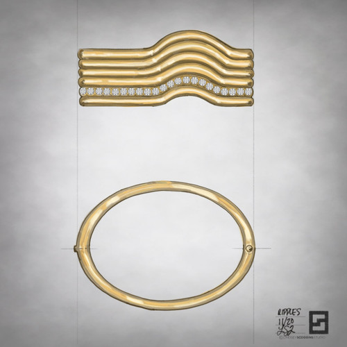 ripple effect diamond wave bangle in 18 karat gold