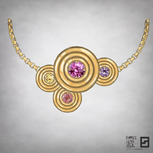 ripple effect rainbow drops statement necklace in 18 karat gold and multi-colored sapphires