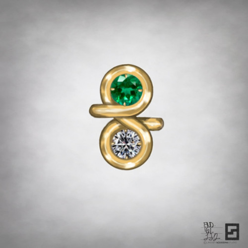 two stone engagement ring with endless gold halo and diamond and emerald center stones in 18 karat gold
