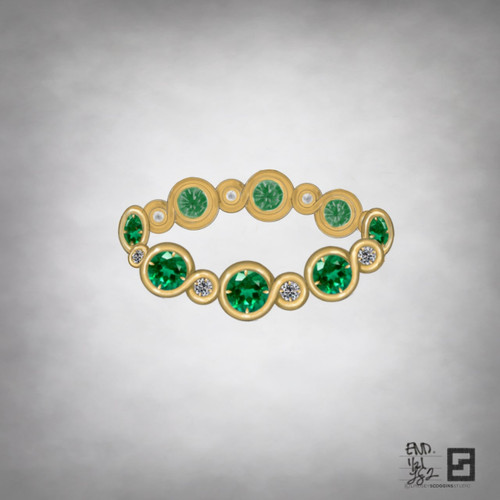 single row of endless loops with diamonds and emeralds in 18k yellow gold