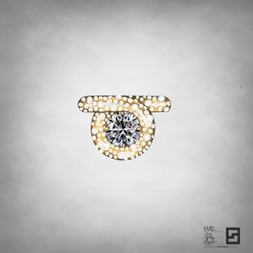 scattered pave endless loop engagement ring in 18 karat gold and diamonds