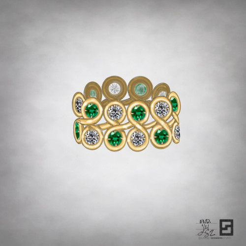 double row of endless loops with diamonds and emeralds in 18k yellow gold