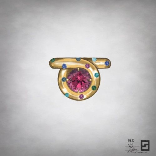 burnished endless loop ring with ruby