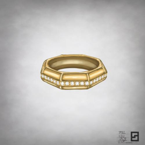 still domed one row diamond band