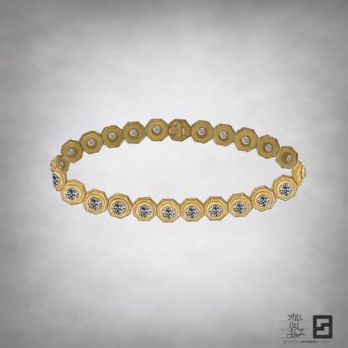 still bezel octagon tennis bracelet