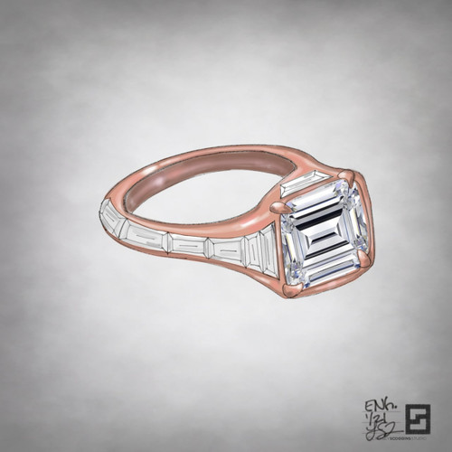 gypsy style asscher cut engagement ring with tapered baguettes