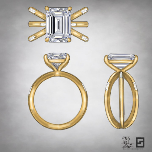 triple axis engagement ring with emerald cut diamond and baguettes