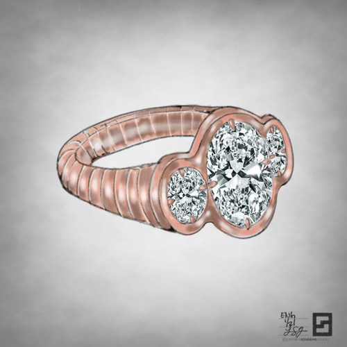 ripple effect three stone oval engagement ring
