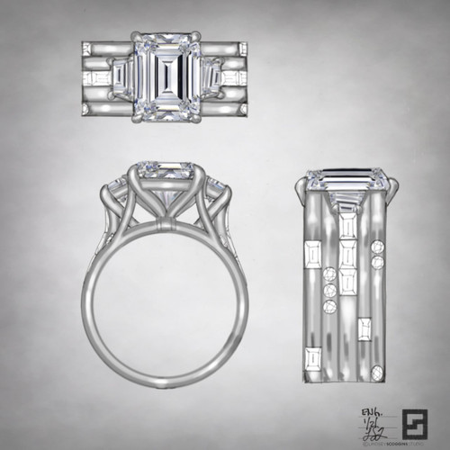 emerald cut and trapezoid energy band engagement ring